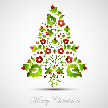 postal card: Christmas tree decorative abstraction background