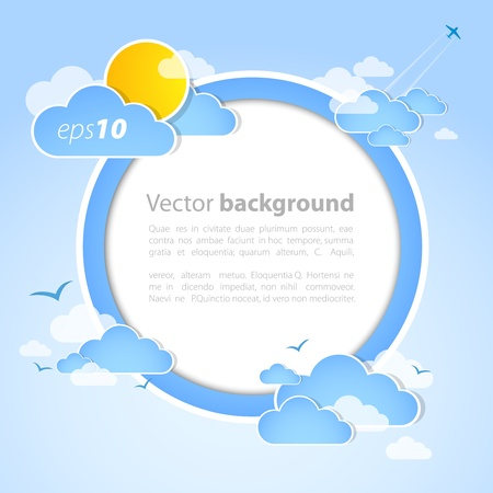 Good weather round background. Blue sky with clouds.