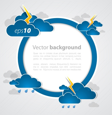 bad weather: Bad weather background. sky with clouds and lightnings Illustration