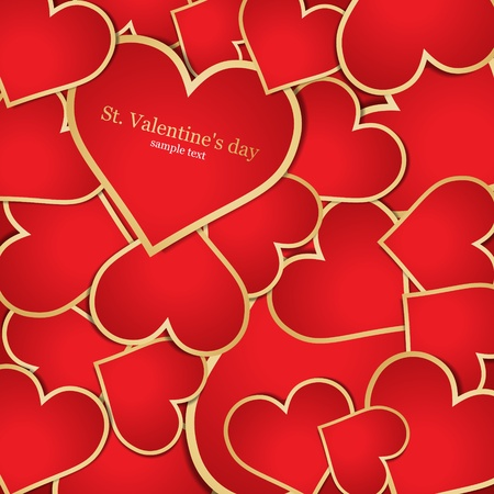 Background with red hearts. Vector Vector