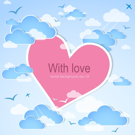 love  cloud: Pink heart in the sky  Vector