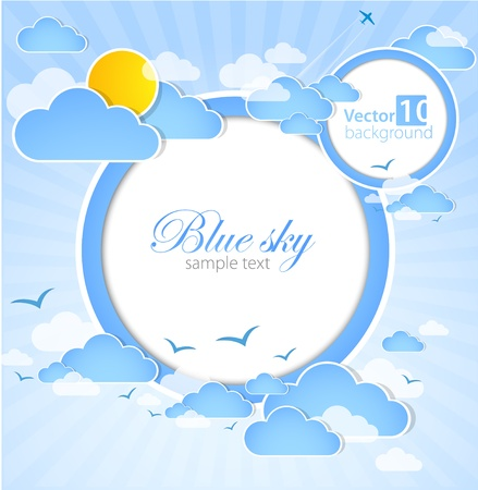 clouds in sky: Good weather round background  Blue sky with clouds  Vector