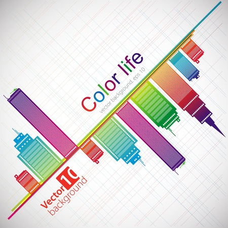 Abstract color background  City theme  Vector Vector