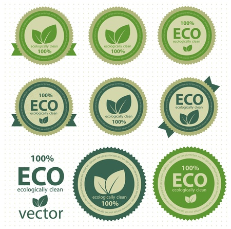 Eco labels with retro vintage design  Vector Illustration