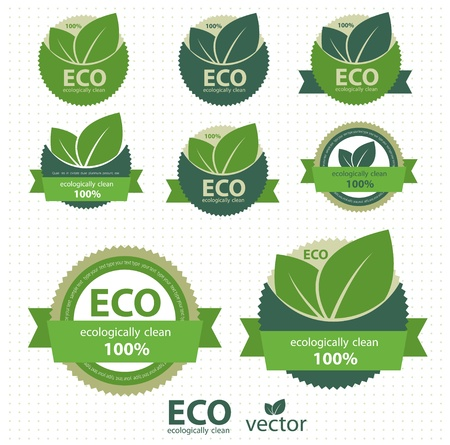 eco: Eco labels with retro vintage design  Vector Illustration