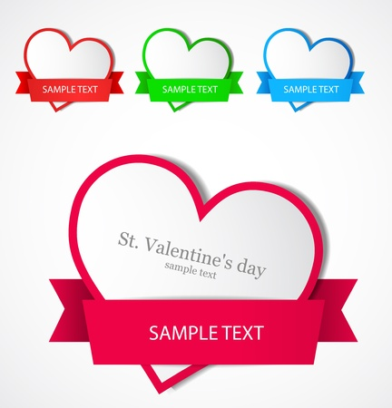 Heart with ribbon  Vector Stock Vector - 12470329