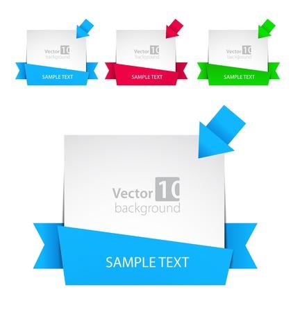 marcadores de libros: Vector banner con las flechas de la cinta y el color Vectores