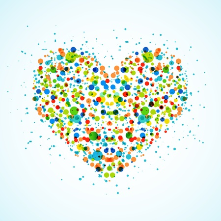 Heart made with color spots  Vector Vector