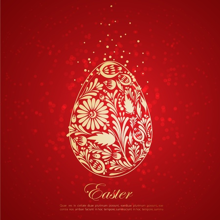 egg plant: Floral golden easter egg Vector