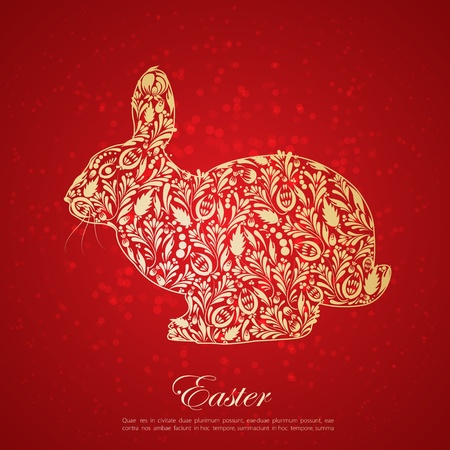 gold egg: Abstract floral golden easter rabbit  Vector