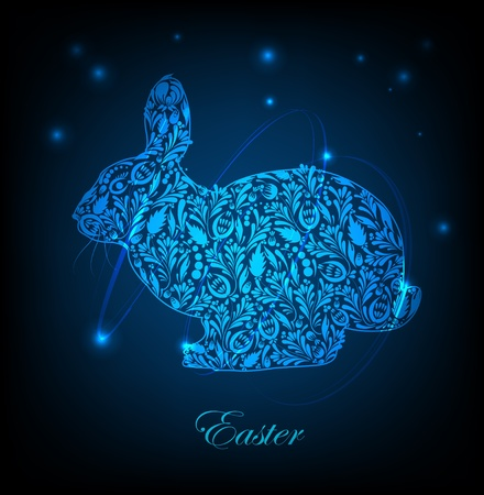 Floral easter rabbit  Vector Vector