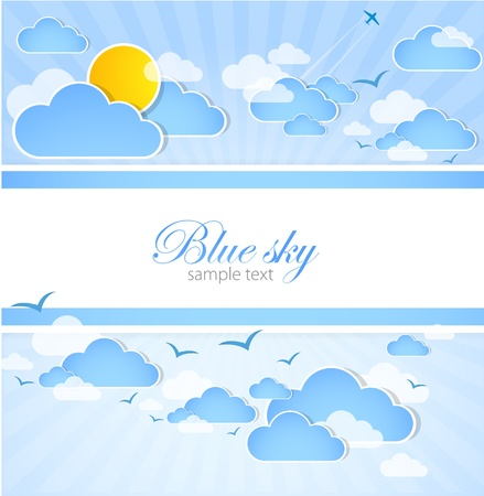 Good weather background  Blue sky with clouds  Vector Vector