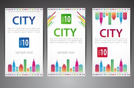 Set of cards  City theme  Vector Vector