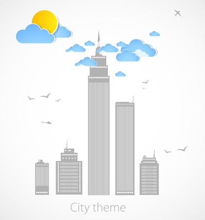 cityscape silhouette: Sky-scraper  City theme background  Vector Illustration