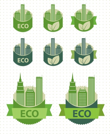 Eco labels city theme  Vector Vector