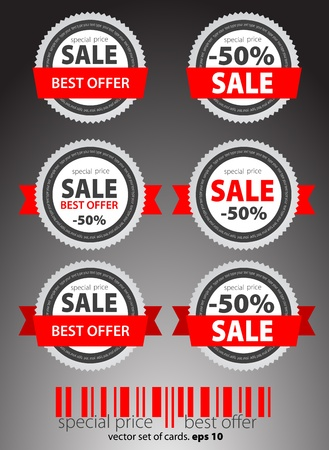 sales representative: Set of red sale tickets  Vector Illustration