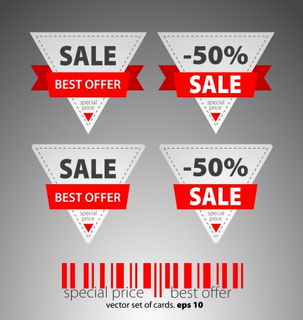 Set of red sale tickets  Vector Vector