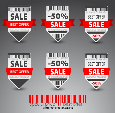 Set of red sale tickets  Vector Stock Vector - 12868098