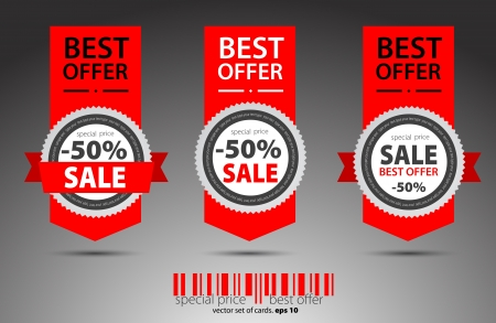 Set of red sale tickets  Vector Illustration