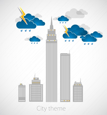 Bad weather background  City theme Stock Vector - 12868087