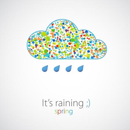 Divertente color nuvola Spring Vector pioggia
