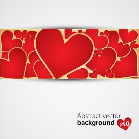Background with red hearts  Vector Vector