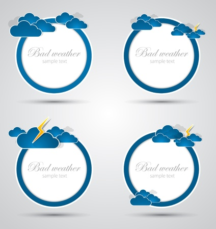 prognosis: Set of weather round backgrounds  Vector Illustration