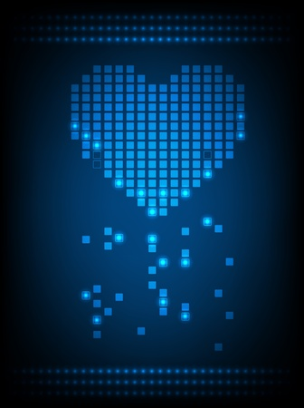 glowing lights: Pixel heart with glowing lights  Vector