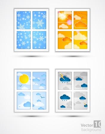 flowed: Season through a window  Vector set