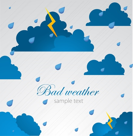 bad color: Bad weather blank  Sky with clouds and lightnings