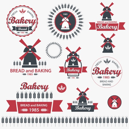 flour mill: Set of vintage retro elements for bakery  Illustration