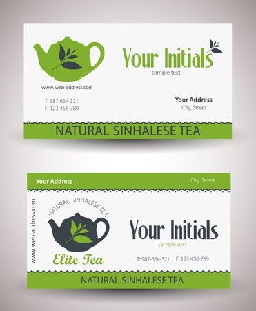 retro vintage business card for tea business  Vector