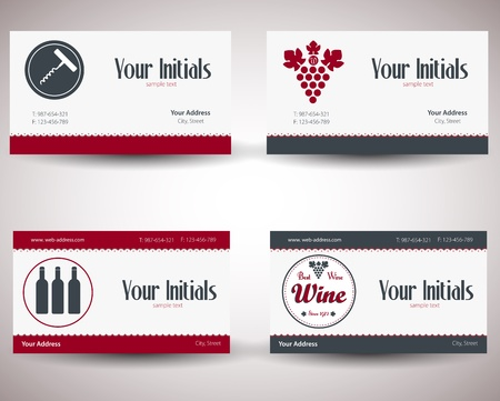 retro vintage business card for wine business. Vector