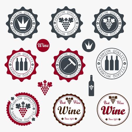 Raccolta di etichette Premium vino di qualit� con design vintage in stile retr�