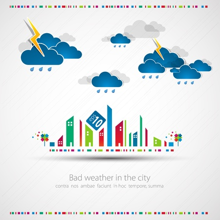 Funny city theme background with rain Stock Vector - 13722056