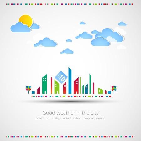 Divertido tema de fondo de la ciudad con sol y nubes