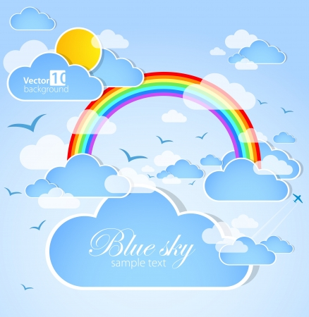 Background with clouds and rainbow Vector