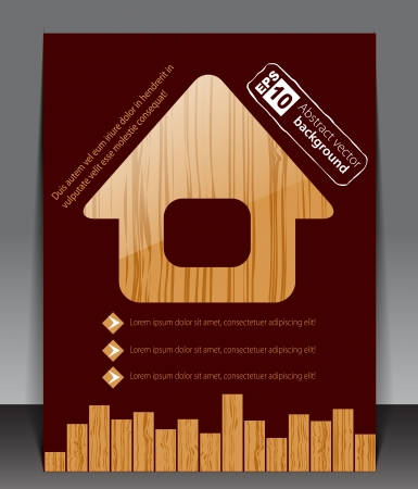 Wooden blank with house icon  Vector Stock Vector - 13721197