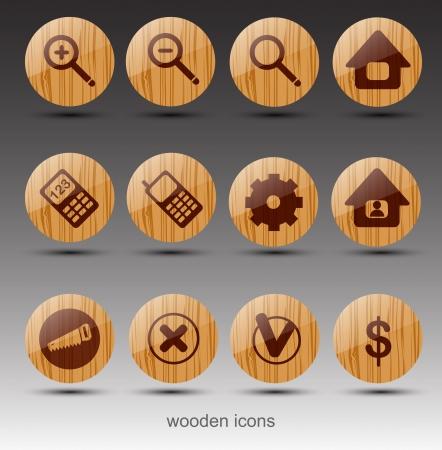 Bois web icônes Vecteur Vecteurs
