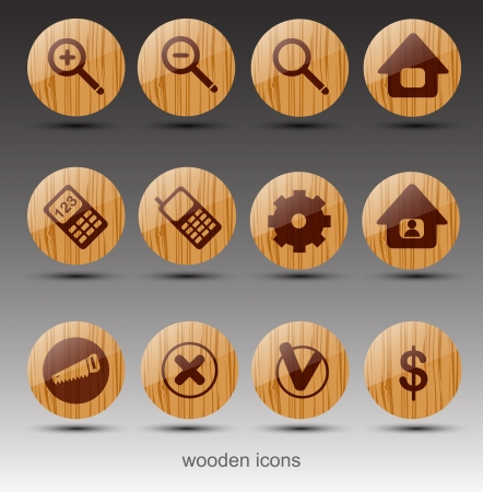 mobile home: Wooden web icons  Vector Illustration