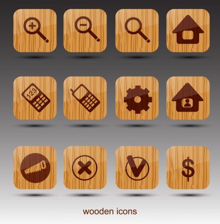 drank: Wooden web icons  Vector Illustration