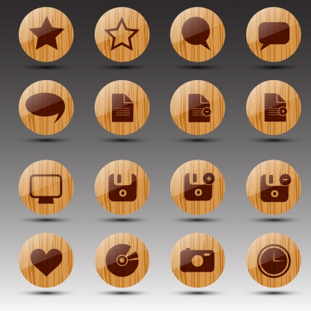 Round wooden web icons  Vector