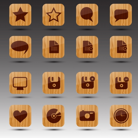 Wooden web icons  Stock Vector - 13721195