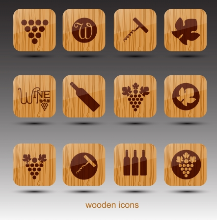 materiales de construccion: Tema de iconos de Madera Vino vectorial