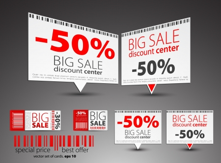 price reduction: Set of color sale pointers Illustration