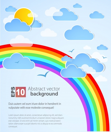 Sky background with rainbow Stock Vector - 14134053