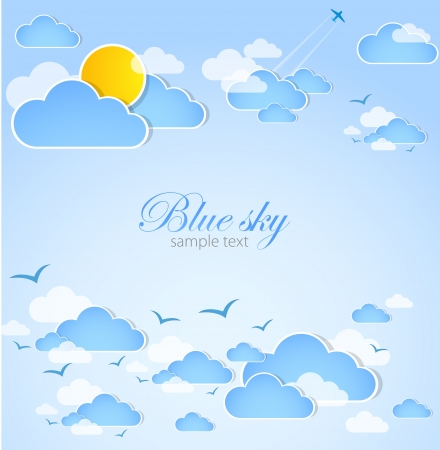 Good weather  Blue sky with clouds  Vector