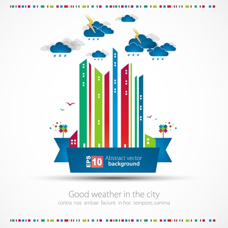 Funny city theme background with rain Stock Vector - 14134040