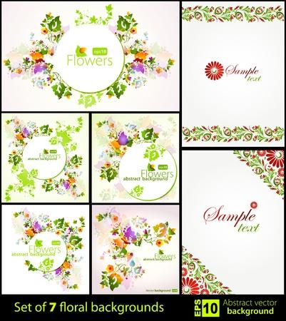 artistic flower: Set of floral backgrounds