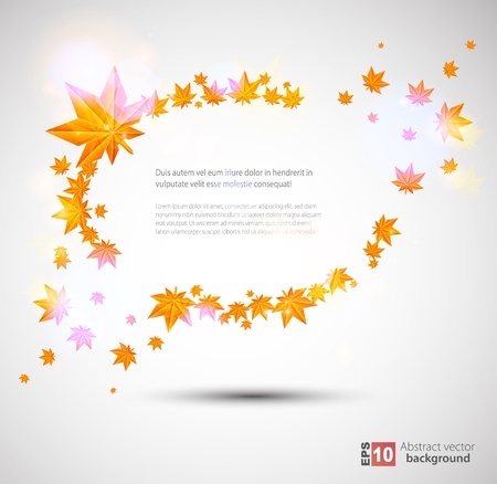 Autumn frame with bright lights Vector